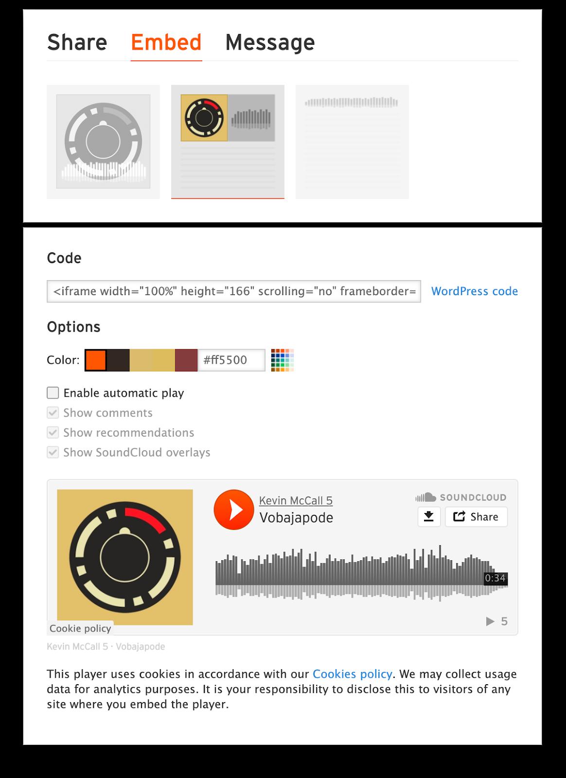 Soundcloud embed settings