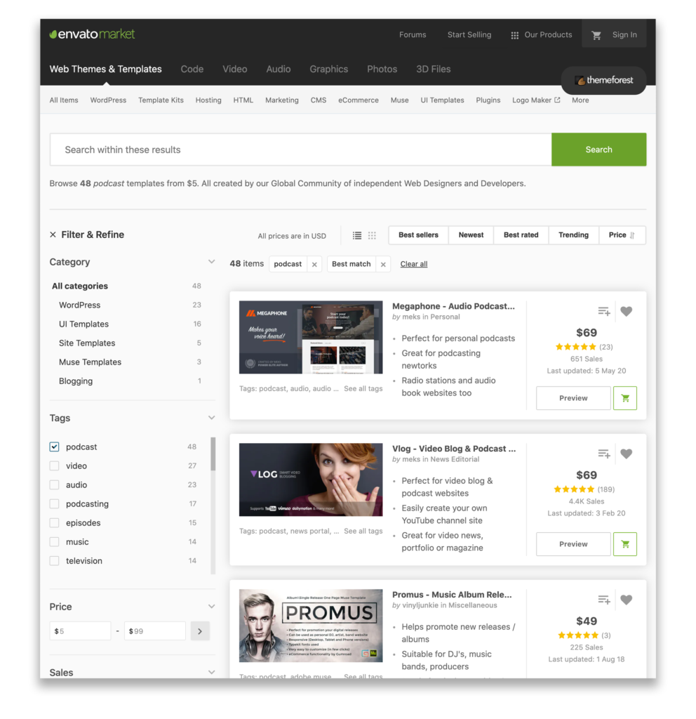 Envato has many great, professionally made, podcast specific themes for WordPress